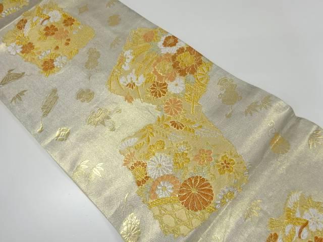 【IDnet】 破れ色紙に牡丹・菊模様織出し袋帯【リサイクル】【中古】【着】