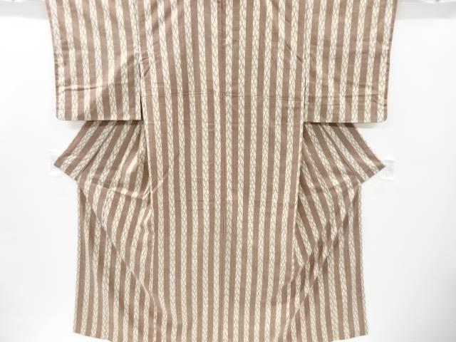 【IDnet】 縞に斜め格子織り出し手織り真綿紬着物【リサイクル】【中古】【着】
