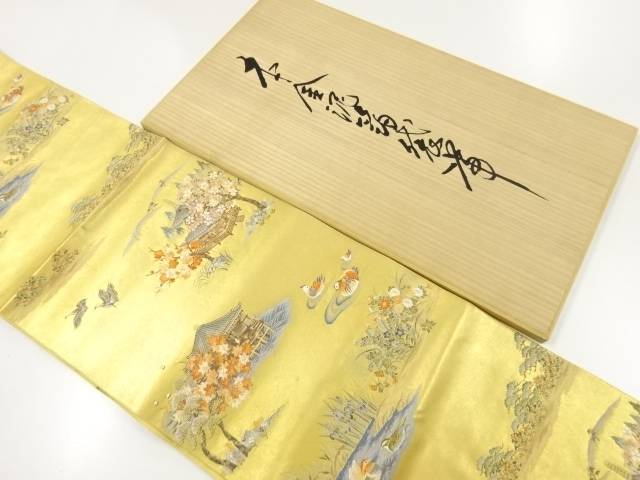 【IDnet】 金泥箔寺院風景模様織出し袋帯【リサイクル】【中古】【着】