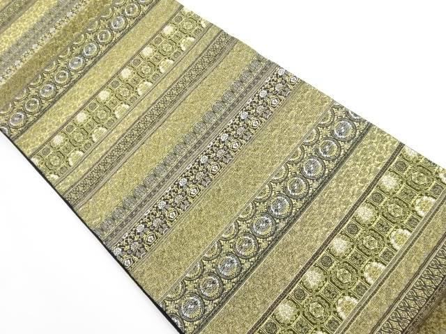 【IDnet】 輪奈ビロード 横段に花更紗模様織り出し袋帯【リサイクル】【中古】【着】
