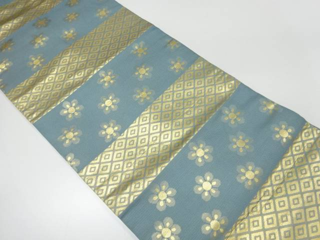 【IDnet】 川島織物製 横段に菱・花模様織出し名古屋帯【リサイクル】【中古】【着】