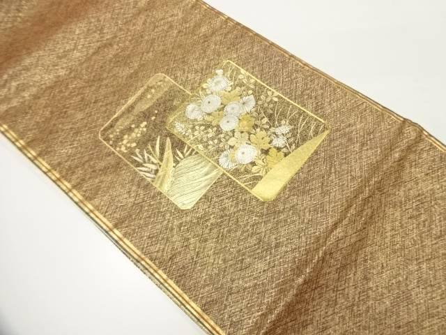 【IDnet】 金彩色紙に草花・小舟模様刺繍袋帯【リサイクル】【中古】【着】
