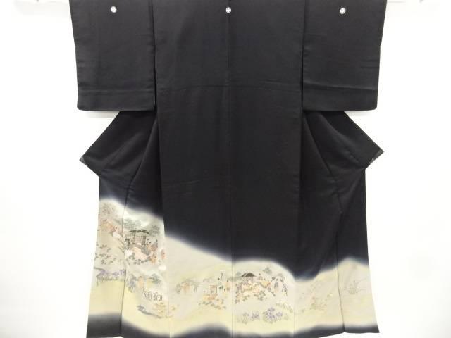 【IDnet】 寿光織時代人物模様織り出し留袖(比翼付き)【リサイクル】【中古】【着】