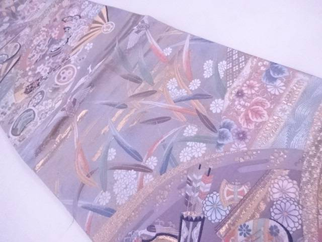 【IDnet】 袋帯 西陣織 扇に古典草花文【リサイクル】【中古】【着】
