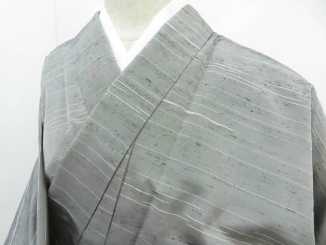 【IDnet】 紬 手織 横段文 着物【リサイクル】【中古】【着】