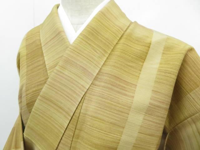 【IDnet】 紬 手織 横縞文 着物【リサイクル】【中古】【着】