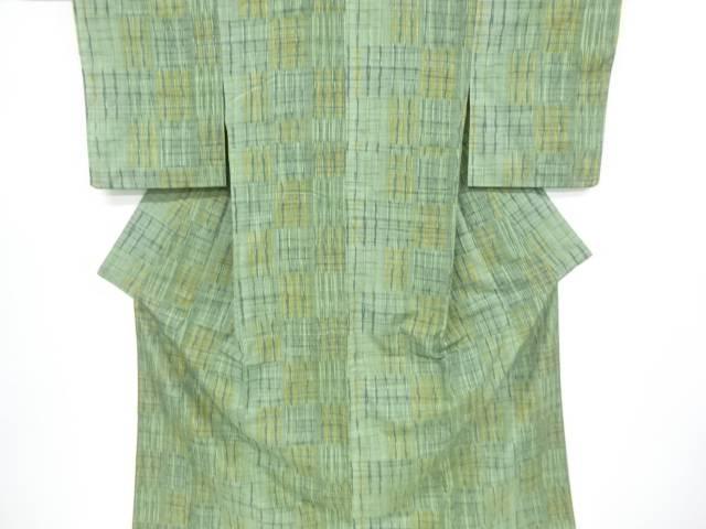 【IDnet】 絣格子模様織り出し手織り真綿紬着物【リサイクル】【中古】【着】