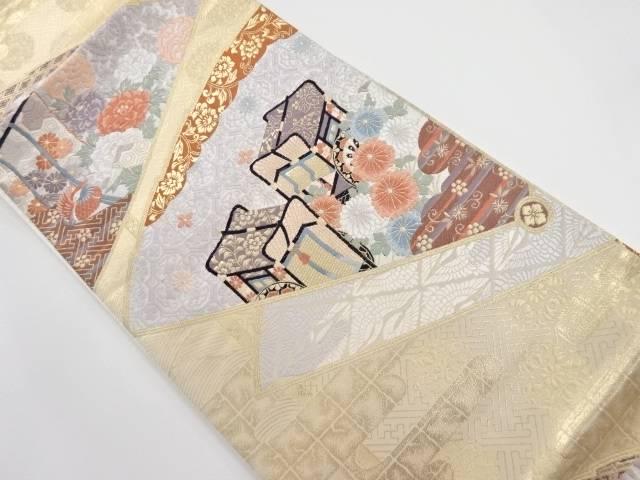【IDnet】 本金扇面に御所車・花鳥模様織り出し袋帯【リサイクル】【中古】【着】