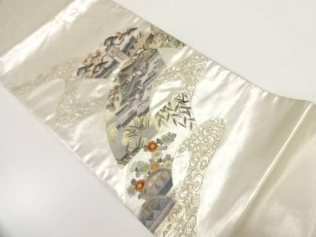【IDnet】 汕頭相良蘇州刺繍地紙に家屋模様袋帯【リサイクル】【中古】【着】