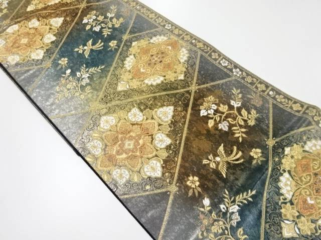 【IDnet】 引箔花喰い鳥に華紋織り出し袋帯【リサイクル】【中古】【着】