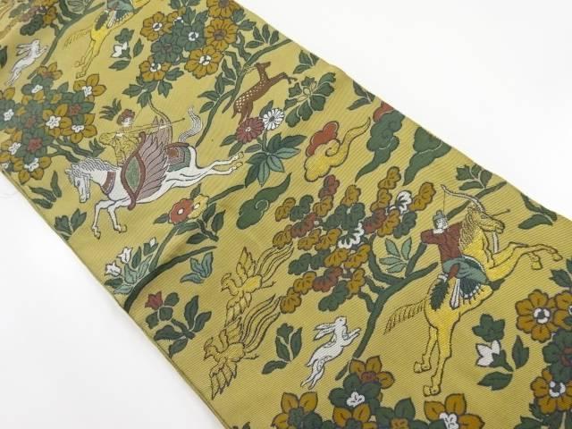 【IDnet】 狩猟風景模様織り出し袋帯【リサイクル】【中古】【着】