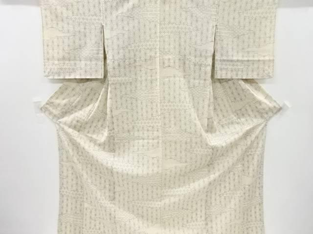 【IDnet】 紗紬麻の葉に七宝・花亀甲模様織り出し着物【リサイクル】【中古】【着】