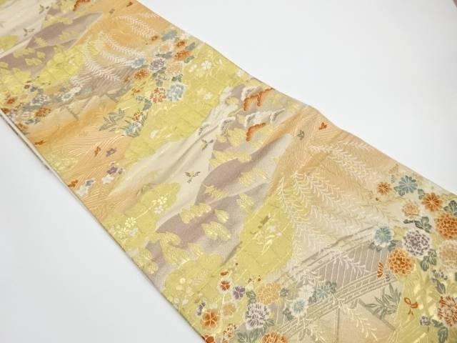 【IDnet】 花々と町並み風景模様織出し袋帯【リサイクル】【中古】【着】
