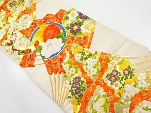 【IDnet】 金糸扇面に桜・牡丹丸紋織り出し袋帯【リサイクル】【中古】【着】