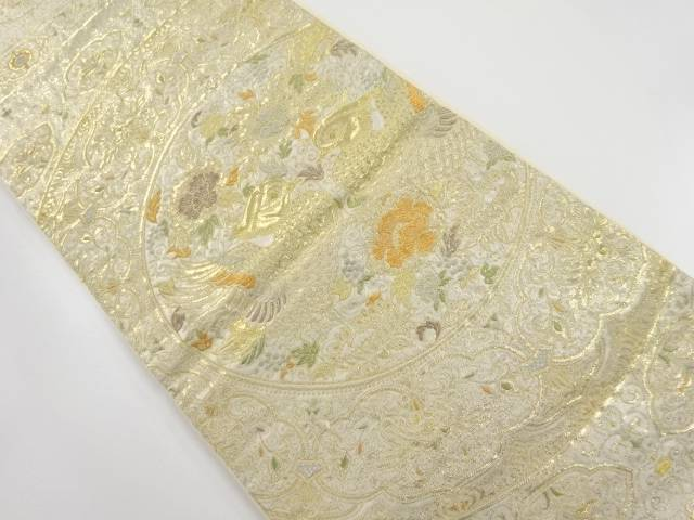 【IDnet】 金糸絵皿に花更紗・向かい鳥模様織り出し袋帯【リサイクル】【中古】【着】