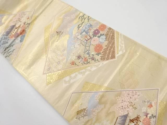 【IDnet】 本金箔色紙に桜・寺院模様織り出し袋帯【リサイクル】【中古】【着】