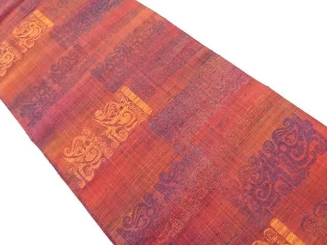 【IDnet】 手織り真綿紬横段に更紗模様織り出し袋帯【リサイクル】【中古】【着】