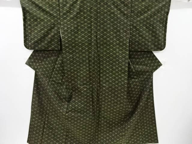 【IDnet】 斜め格子に井桁絣模様織り出し手織り真綿紬着物【リサイクル】【中古】【着】