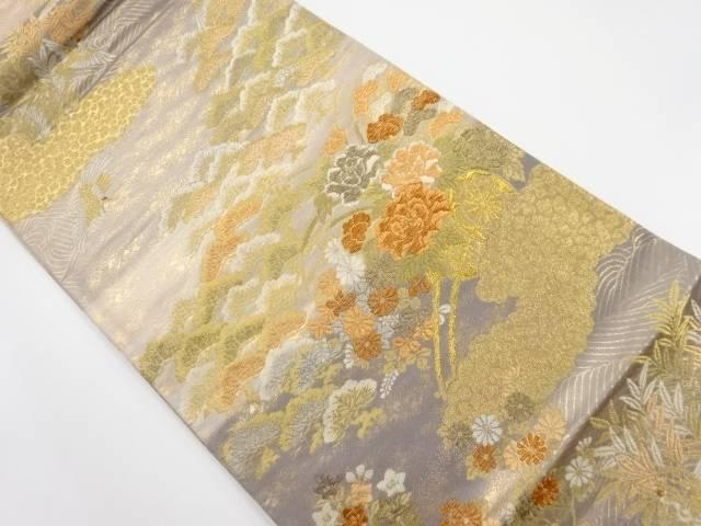 【IDnet】 本金花車に群鶴模様織り出し袋帯【リサイクル】【中古】【着】