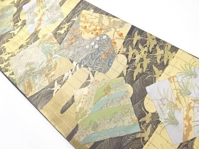 【IDnet】 服部織物製 本金箔色紙に花鳥模様織り出し袋帯【リサイクル】【中古】【着】