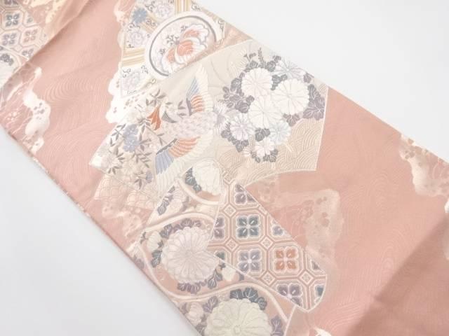 【IDnet】 銀糸地紙に花鳥模様織り出し袋帯【リサイクル】【中古】【着】