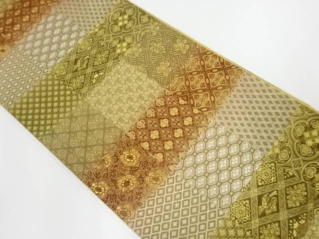 【IDnet】 未使用品 輪奈織格子に花・古典柄模様織出し袋帯【リサイクル】【着】