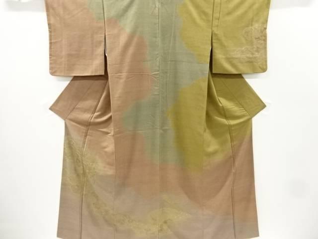 ビッグセール35%OFF 人気 返品送料無料 IDnet 汕頭蘇州刺繍雲取りに和楽器 草花模様手織り真綿紬一つ紋訪問着 着 中古 リサイクル