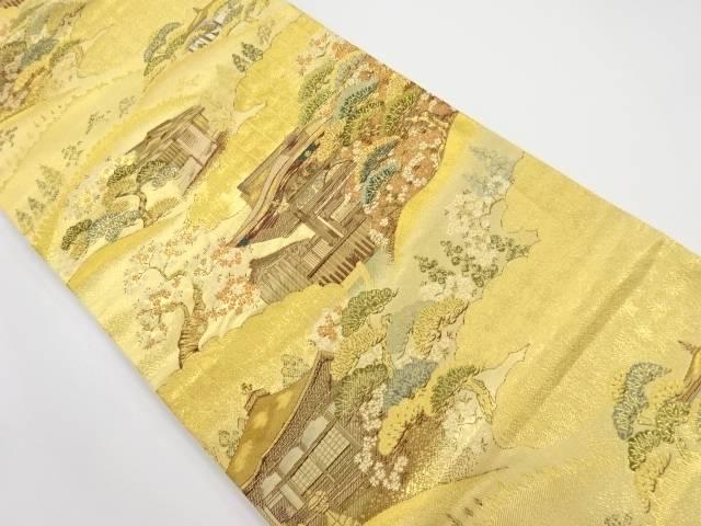【IDnet】 本金桜に寺院風景模様織り出し全通袋帯【リサイクル】【中古】【着】