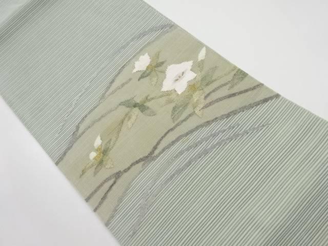 【IDnet】 絽綴れ芝草に桔梗模様織り出し袋帯【リサイクル】【中古】【着】