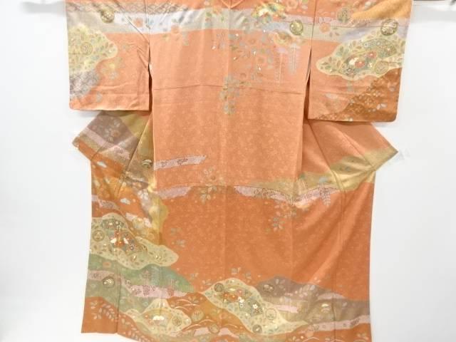 【IDnet】 未使用品 仕立て上がり 金彩手描き友禅地紙に菖蒲・菊・橘模様訪問着【着】