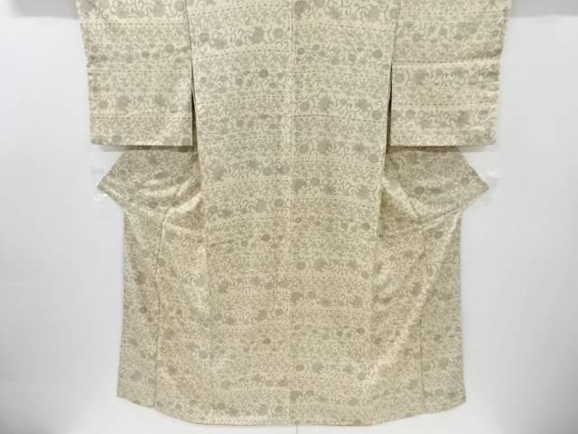 【IDnet】 横段に花唐草模様手織り節紬着物【リサイクル】【中古】【着】