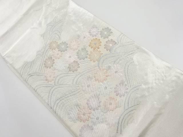 【IDnet】 引箔逆雲取りに菊模様刺繍袋帯【リサイクル】【中古】【着】