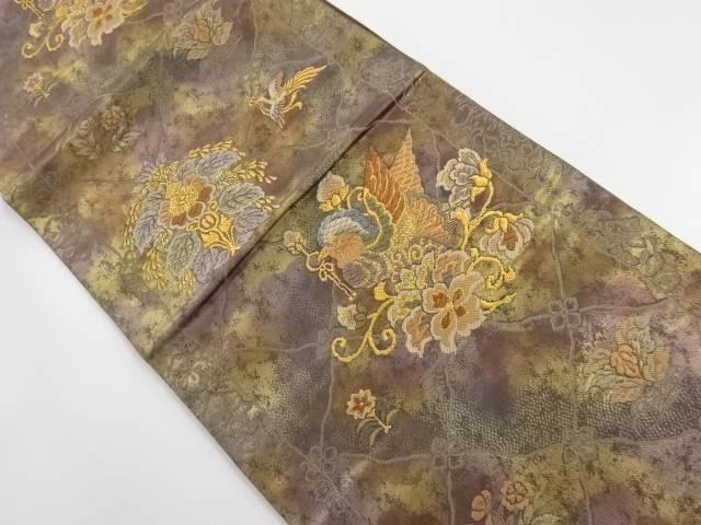 【IDnet】 未使用品 河辺工芸製 本金花喰い鳥模様織り出し袋帯(未仕立て)【リサイクル】【着】