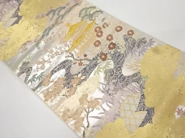 【IDnet】 金閣寺に松竹梅模様織出し袋帯【リサイクル】【中古】【着】