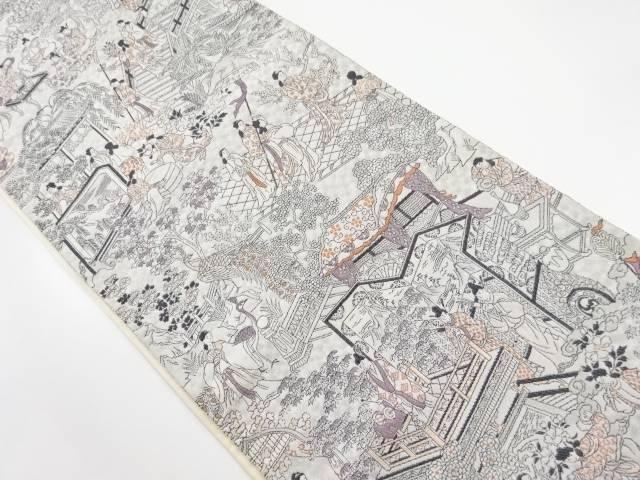 【IDnet】 銀糸「玉の緒節調」織り出し全通袋帯【リサイクル】【中古】【着】