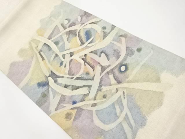 【IDnet】 作家物 明綴れ線描き模様織り出し袋帯【リサイクル】【中古】【着】