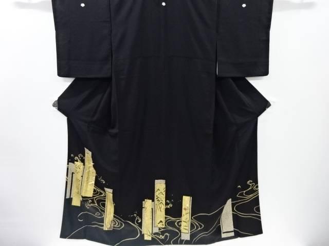 【IDnet】 金彩短冊に群鶴南天模様刺繍留袖(比翼付き)【リサイクル】【中古】【着】