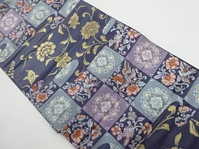 【IDnet】 金糸市松に花鳥模様織り出し袋帯【リサイクル】【中古】【着】