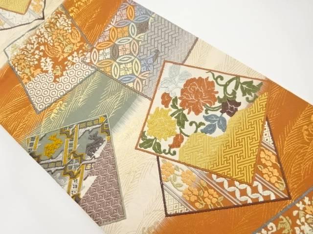 【IDnet】 唐織色紙に花・古典柄織り出し袋帯【リサイクル】【中古】【着】