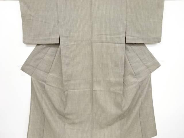 【IDnet】 縞模様織り出し手織り紬単衣着物【リサイクル】【中古】【着】