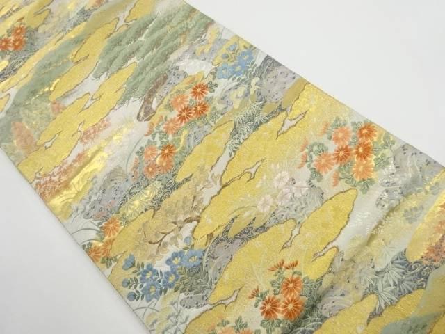 【IDnet】 本金雲に松・花模様織り出し袋帯【リサイクル】【中古】【着】