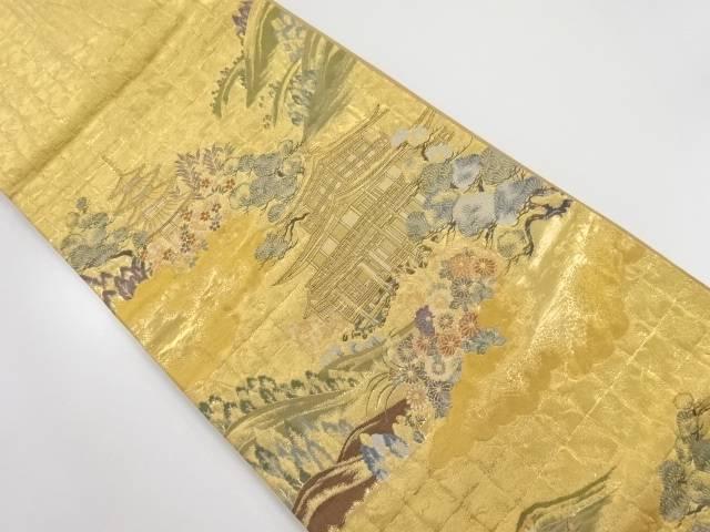 【IDnet】 本金遠山に金閣寺模様織り出し袋帯【リサイクル】【中古】【着】