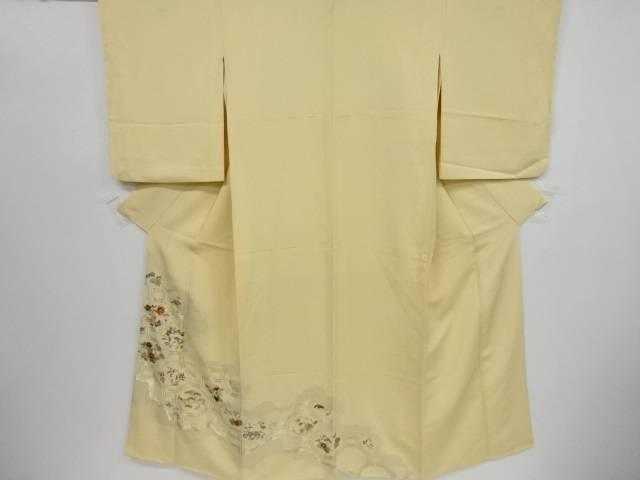 【IDnet】 寿光織道長取に花蜀江紋刺繍三つ紋色留袖【リサイクル】【中古】【着】