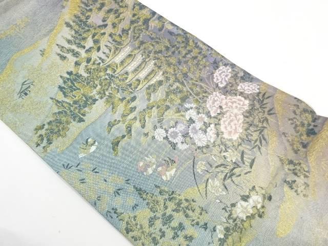 【IDnet】 鴛鴦に寺院風景模様織出し袋帯【リサイクル】【中古】【着】