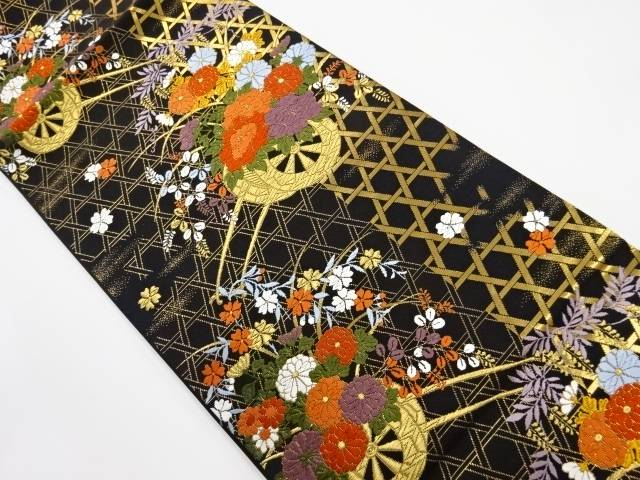 【IDnet】 金糸 かごめに花車模様織り出し袋帯【リサイクル】【中古】【着】