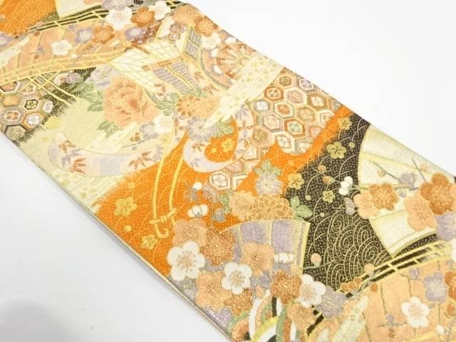 【IDnet】 九百錦御所車に草花模様織出し袋帯【リサイクル】【中古】【着】