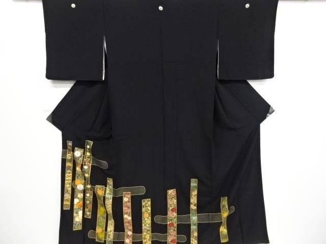【IDnet】 短冊に松竹梅・菊模様刺繍留袖(比翼付き)【リサイクル】【中古】【着】
