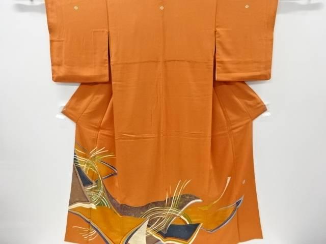 【IDnet】 作家物 金彩友禅組紐模様刺繍三つ紋色留袖(比翼付き)【リサイクル】【中古】【着】