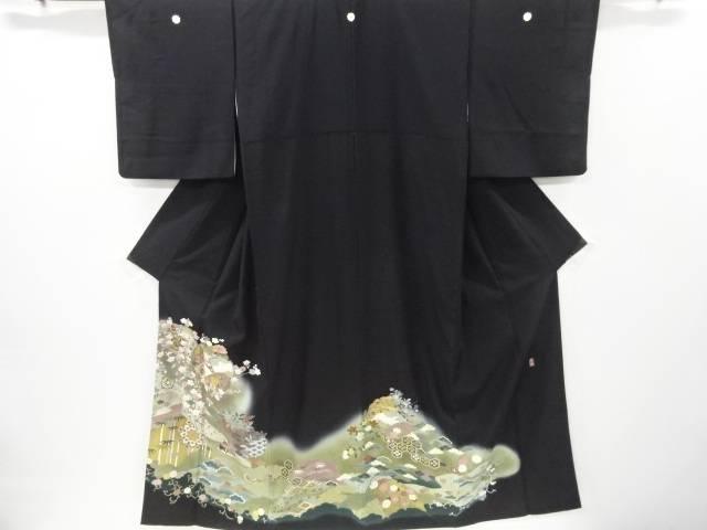 【IDnet】 作家物 金彩雪輪に花鴛鴦模様刺繍留袖(比翼付き)【リサイクル】【中古】【着】