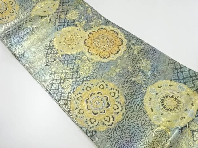 【IDnet】 引箔華紋に花唐草模様織り出し袋帯【リサイクル】【中古】【着】